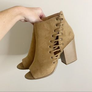 Soda open toe chunky heel lace up booties
